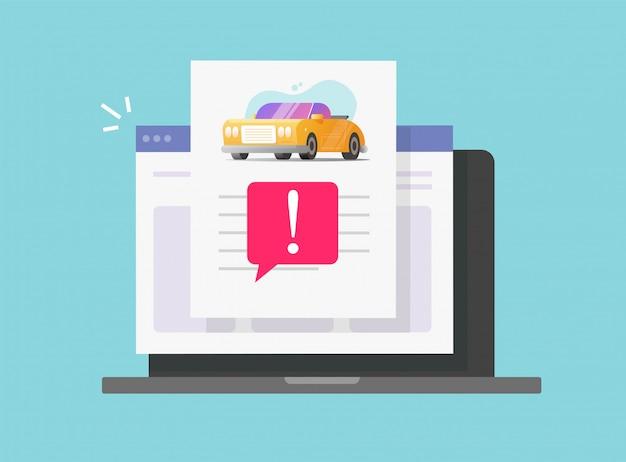 Informe de descripción en línea del historial de riesgos falsos del automóvil con advertencia de acceso a la computadora del vehículo o sitio web de internet de la computadora portátil página del documento de información de instrucciones del automóvil