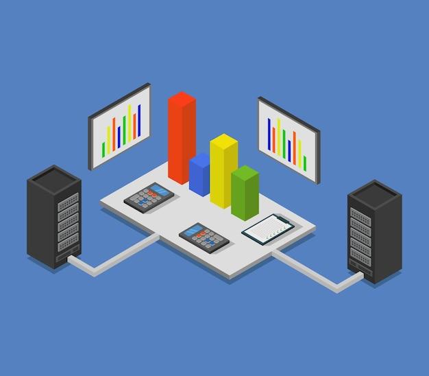 Informe financiero isométrico