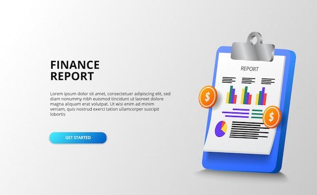Informe financiero con portapapeles 3d establece gráfico de estadísticas de papel con dinero dorado para negocios, contabilidad, economía. plantilla de página de destino