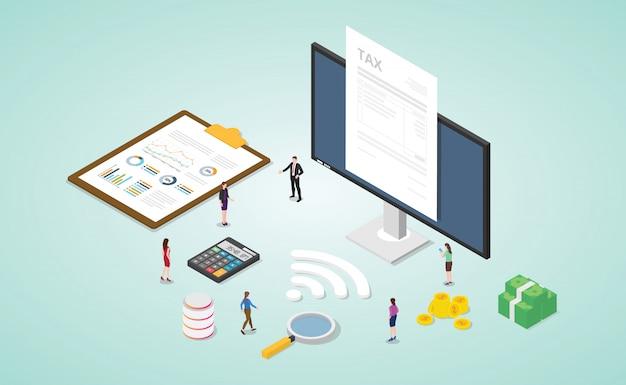 Informe de impuestos en línea con documento en papel y monitor con cálculo de oro de dinero y finanzas con estilo plano isométrico moderno
