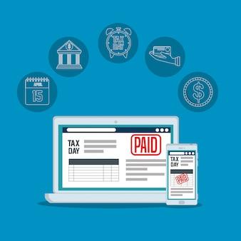 Informe de impuestos de servicio con computadora portátil y teléfono inteligente