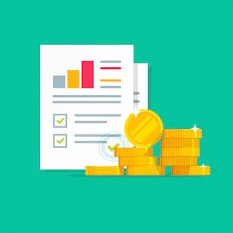 Informe de investigación de auditoría financiera con icono de dinero en efectivo