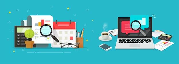 Informe de investigación de auditoría con gráficos de ventas de inspección de análisis en línea en el escritorio de la mesa del lugar de trabajo