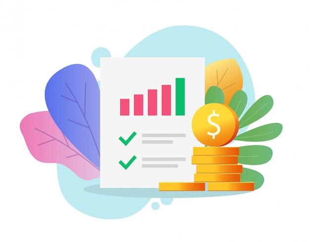Informe de investigación financiera o de auditoría o análisis documento en papel datos de ventas de dinero evaluación de investigación