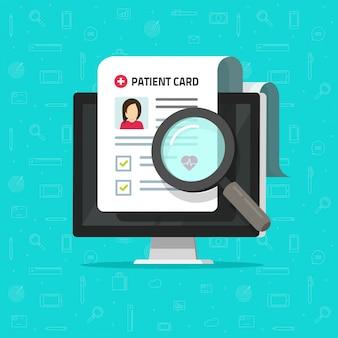 Informe de investigación médica en línea o en línea lista de verificación de documentos de tarjeta de paciente