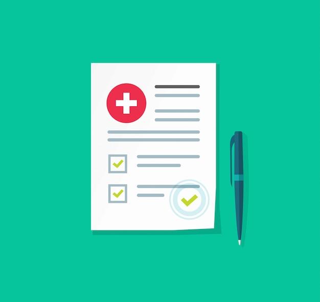 Informe médico del paciente o ilustración de documento de seguro de salud
