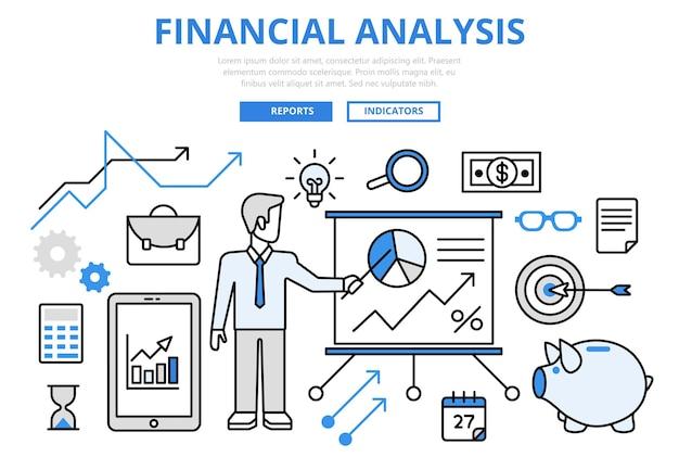 Informe de negocio de análisis financiero finanzas concepto gráfico iconos de arte de línea plana.
