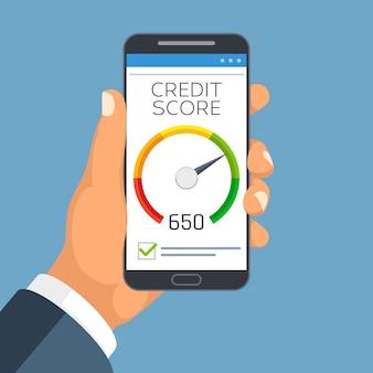 Informe de negocio de puntaje de crédito en la pantalla del teléfono inteligente.