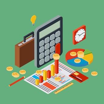 Informe de negocios, estadística financiera, administración, cartera, analítica concepto de vector isométrico plano 3d. ilustración infografía web moderna