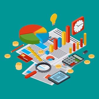 Informe de negocios, estadística financiera, gestión, analítica concepto 3d vector isométrica plana. ilustración infografía web moderna