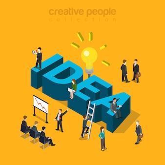 Informe de reunión de empresarios y palabra de gran idea.