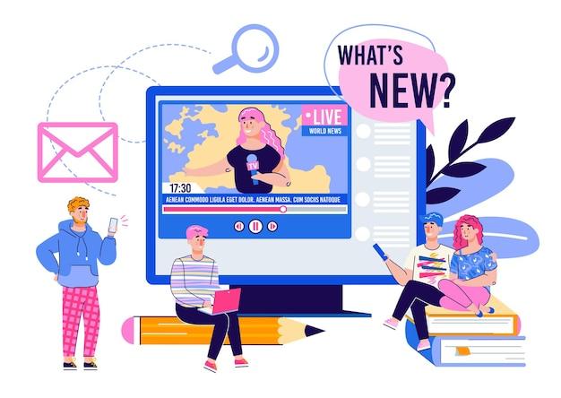 Informe en vivo y noticias en línea con personas que miran videos