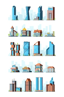 Infraestructura de la ciudad. construcción urbana casas rascacielos gasolinera escuela tienda banco edificios municipales imágenes 2d