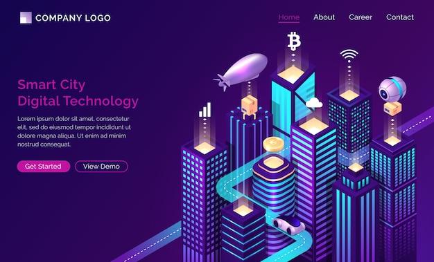 Infraestructura de ciudad inteligente iot tecnología isométrica