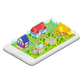 Infraestructura isométrica de la ciudad con casas de árboles y fuente en el teléfono móvil.