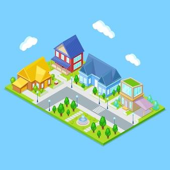 Infraestructura isométrica de la ciudad con casas, árboles y fuente.