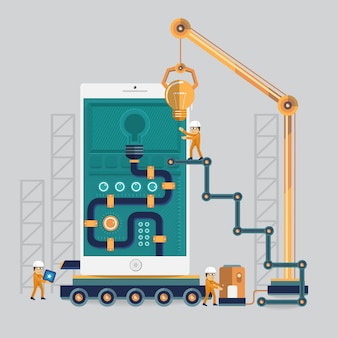Ingeniería móvil hacia el éxito mediante el poder con el proceso de energía de ideas