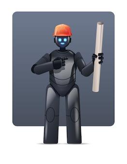 Ingeniero de capataz de robot en casco con dibujos de construcción arquitecto robótico moderno con planos tecnología de inteligencia artificial