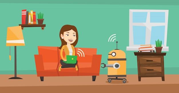 Ingeniero caucásico programando un robot.