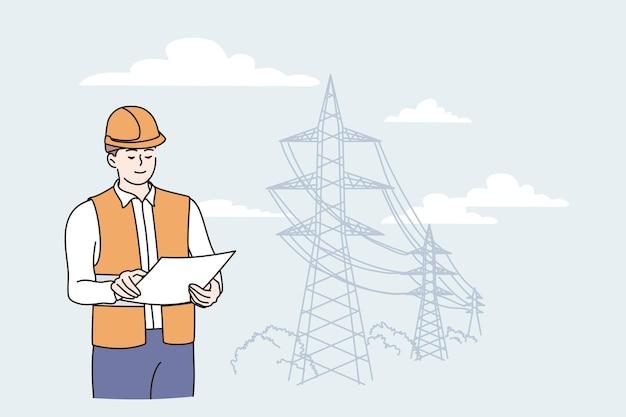 Ingeniero de construcción durante el concepto de trabajo