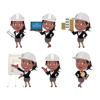 Ingeniero de construcción con diferentes poses.