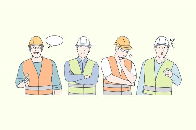 Ingeniero de construcción trabajo pensamientos e ideas diferentes emociones concepto