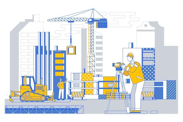 Ingeniero constructor de agrimensores con equipo de tránsito de teodolito en el exterior de la obra