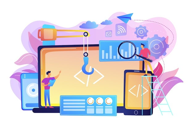 Ingeniero y desarrollador con código para laptop y tableta. desarrollo multiplataforma, sistemas operativos multiplataforma y concepto de entornos de software. ilustración aislada violeta vibrante brillante