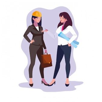 Ingeniero de dibujos animados de mujeres avatar