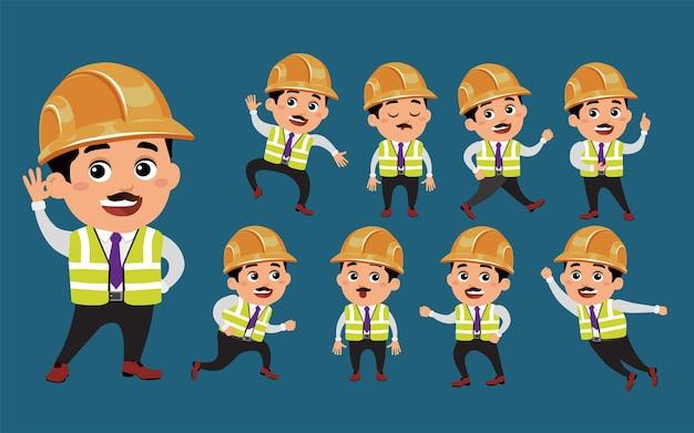 Ingeniero con diferentes poses.