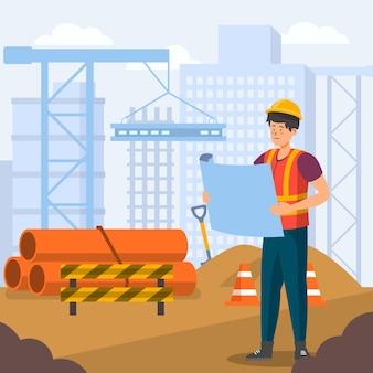 Ingeniero plano orgánico trabajando en construcción