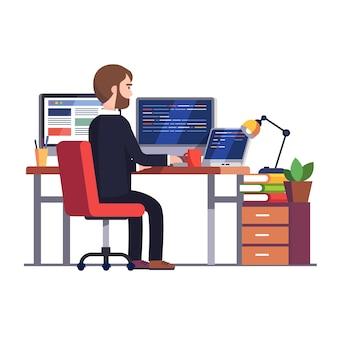 Ingeniero programador profesional escribiendo código