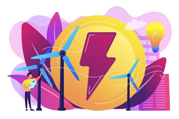 Ingeniero que trabaja con turbinas eólicas que producen energía verde, bombilla. energía eólica, energía renovable, concepto de suministro de electricidad verde.