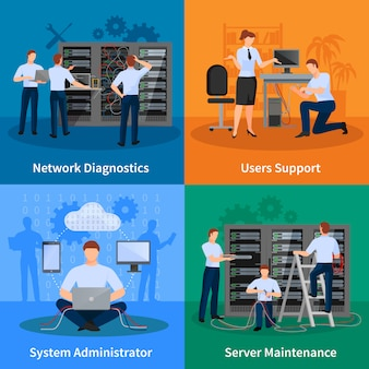 El ingeniero de red y su administrador diseñan el conjunto de conceptos de los usuarios de diagnósticos de red y la ilustración de vector de elementos de mantenimiento del servidor