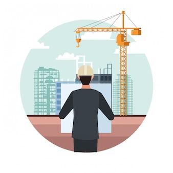 Ingeniero sobre paisaje en construcción