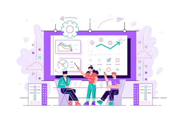 Ingeniero de software, estadístico, visualizador y analista trabajando en un proyecto. conferencia de big data, presentación de big data, concepto de ciencia de datos. plano brillante vibrante violeta ilustración aislada q
