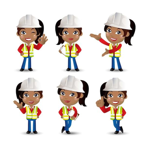 Ingeniero de trabajador constructor de profesión con diferentes poses