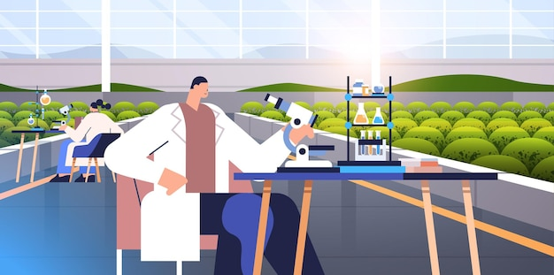 Ingenieros agrícolas investigando plantas científicos haciendo experimentos químicos en laboratorio agricultura agricultura inteligente