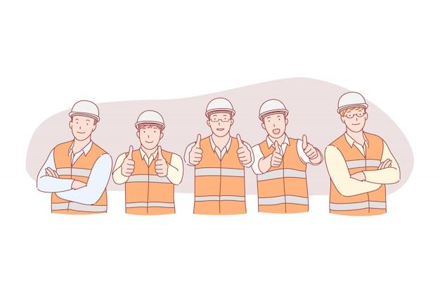 Ingenieros civiles posando ilustración