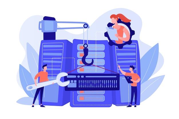 Ingenieros consolidando y estructurando datos en el centro. ingeniería de big data, operación de datos masivos, concepto de arquitectura de big data