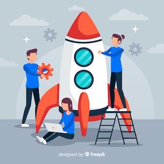 Ingenieros construyendo un cohete