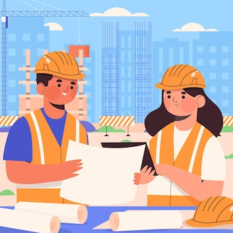 Ingenieros de diseño plano orgánico que trabajan en la construcción.