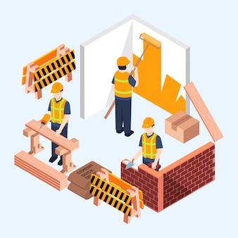 Ingenieros de ilustración isométrica que trabajan en la construcción.