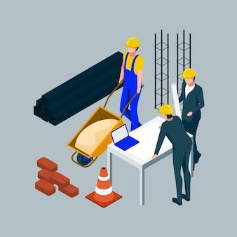 Ingenieros isométricos que trabajan en la ilustración de la construcción.