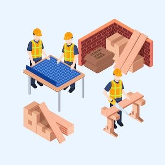 Ingenieros isométricos trabajando en construcción.