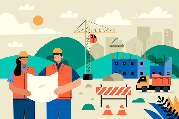 Ingenieros planos orgánicos que trabajan en la ilustración de ilustración de construcción