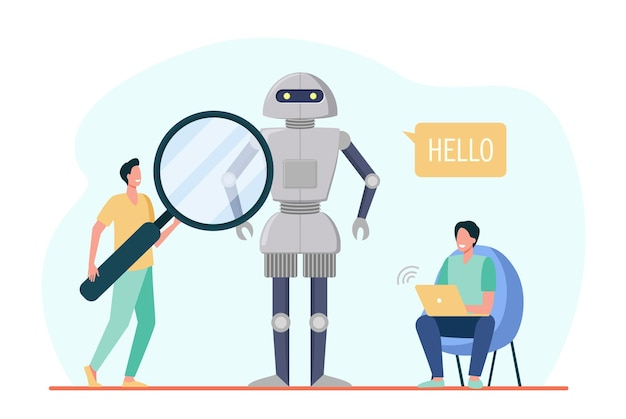 Ingenieros que crean robot. hablando humanoide hola, hombres con laptop y lupa. ilustración de dibujos animados