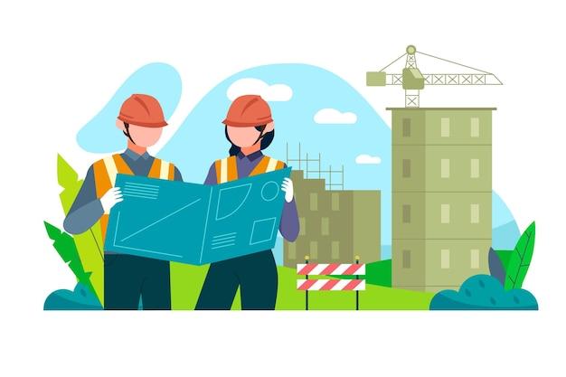 Ingenieros que trabajan en la construcción