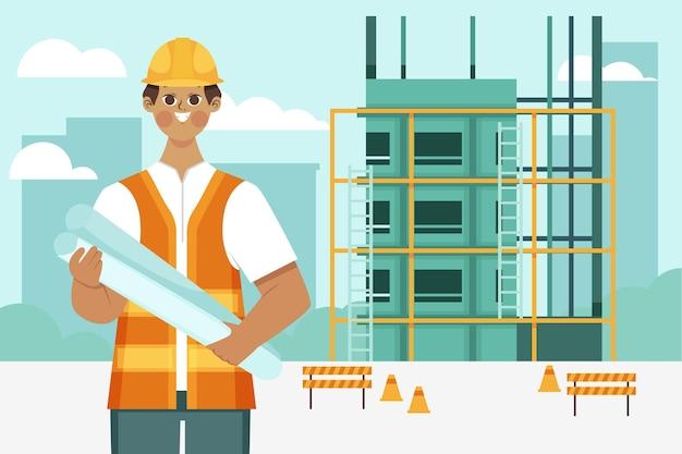 Ingenieros que trabajan en diseño plano de construcción.