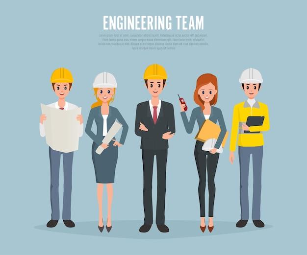 Ingenieros técnicos y trabajadores del equipo de construcción.